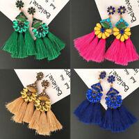 Women Fashion Bohemian Earrings Long Tassel Fringe Drop/Dangle Ear Stud Jewelry