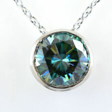 4 Ct Blue Diamond Solitaire Pendant in Silver  Ideal Gift
