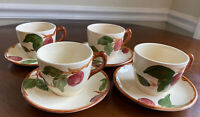 Set of 4 Vintage Franciscan Apple—Tea Coffee Cups and Saucers