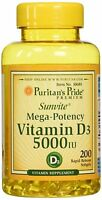 VITAMIN D3 5000 IU MEGA-POTENCY BONE TEETH IMMUNE SYSTEM SUPPLEMENT 200 SOFTGELS