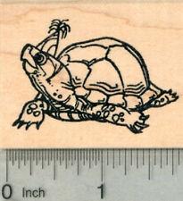 Birthday Tortoise Rubber Stamp, Turtle in Party Hat G29902 WM