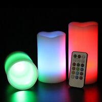 3pc LED Flameless Candles  Pillar 12 Color Changing w/ Remote Glow Wedding MDAU