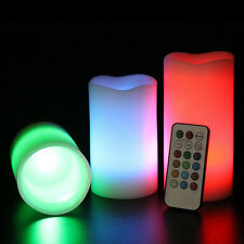 3pc LED Flameless Candles  Pillar 12 Color Changing w/ Remote Glow Wedding、New