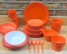 38 pc Melaware Retro Vintage Orange Melamine Plate Cup Picnic Set VW Campervan