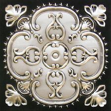 PVC Faux Tin Ceiling Tiles Glue Up Drop In 24 x 24 D217 Antique Silver