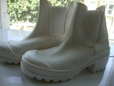 ELASTOMERE WHITE CANVAS/RUBBER  HIGH BLOCK HEEL- ANKLE BOOTS- SIZE 38