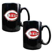 CINCINNATI REDS 2 Piece Ceramic MLB Coffee Mug Set- Black - Pewter Emblem