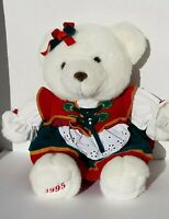 Vintage 1995 Kmart CHRISTMAS TEDDY Girl  Red Green White Plush Stuffed Bear 90s