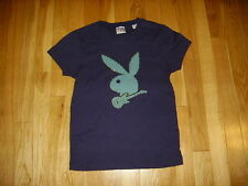 PLAYBOY PLAYING GUITAR WOMENS CREW NECK T SHIRT SIZE S/M BUNNY RABBIT PLAYMATE