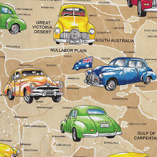 Holden Cars on Beige Australian Map Quilt Fabric Craft Fat Quarter or Metre NEW