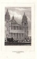 1840 victorian print ~ st paul's cathedral london horse & transport