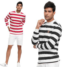 Mens Stripe Featherweight Pull Over Shirt Mock Neck Long Sleeve Autumn Sweater