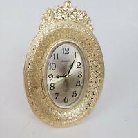 Bulova Quartz Gold Victorian Floral Japan Desk Clock