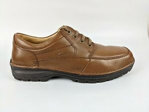 Clarks Collection Brown Leather Casual Lace Up Shoes Uk 8.5 H Wide