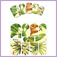 Nail Art Water Decals Stickers Transfers Summer Tropical Palm Trees Floral RU317