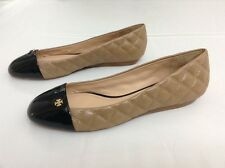 NEW TORY BURCH CLAREMONT BLACK  CAMEL LEATHER QUILTED LOGO FLAT SIZE 10 M