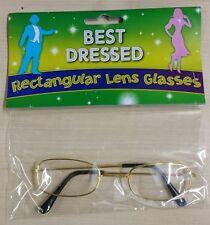 Gold Wire Frame Clear Lense Glasses Spectacles Fancy Dress Santa Vicar Granny