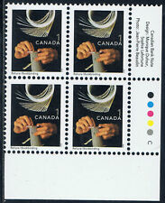 Canada #1673ii(43) 2001 1 cent BOOKBINDING Lower Right Plate Block MNH