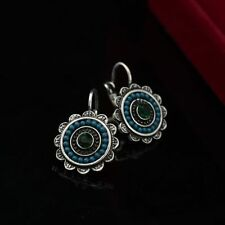 Silver Plated Vintage Crystal Green Beads Crystal Lever Back Round Earrings Gift