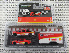 GREENLIGHT 1:64 Hitch & Tow Racing 2016 CHEVY CAMARO 2015 SILVERADO Shell Hauler