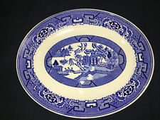 "HOMER LAUGHLIN Blue Willow transferware platter H51N6 mad USA 9x11"" oriental"