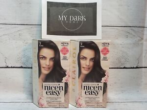 Lot of 2 CLAIROL Nice & Easy Permanent Hair Color #2 Black BRAND NEW UNUSED OBO
