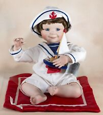 Ashton Drake Yolanda Bello Justin Sailor Boy Porcelain Doll With Boat & Blanket