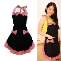 Women Vintage Cute Bowknot Aprons Cooking Kitchen Bib Dress With Pocket Apron US