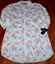 NWT Ralph Lauren Ivory/Pink/Purple/Green Floral Sleep Shirt Nightgown Gown L