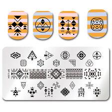 Born Pretty Nail Art Stamping Plates Rectangle Geometric Triangle Symbol Totem