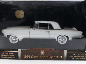 1956 Lincoln Continental Mark II White Road Signature Series 24k Coin 1:18 Scale
