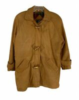 Vtg Eddie Bauer Soft Brown Leather Goose Down Flannel Lined Coat Jacket Sz M/L