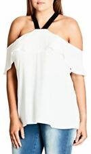 CITY CHIC XL 22 NWT RRP $69.95 TOP OFF SHOULDER ASHI IVORY