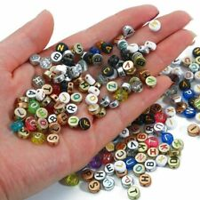 100pcs Letter Metal Color Acrylic Beads Round Flat Alphabet Loose Spacer Beads e