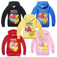 Pokemon Pokeball Pikachu Kids Hoodies Sweatshirts Boys Girls Cosplay Clothes Top