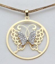 Yellow 18K Gold Sterling Silver Diamond Pendant Butterfly Christmas GIFT Present