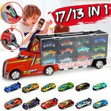 17/13 in 1 Toy Transport Tractor Trailer Car Collection Carrier Case Usa G -