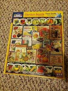 White Mountain Garden Seeds 1000 piece puzzle #1232 Vintage Seed Packets