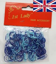 1st Lady - 250pcs Light+Dark Blue Mini Silicone Hair Bands -Braids/Dreadlocks