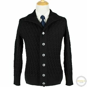 NWT SNS Herning Jet Black Wool Textured Knit Heavy Bomber Stark Sweater Jacket M