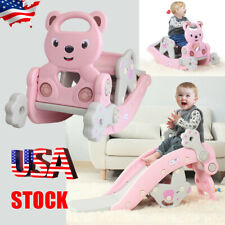4-in-1 Rocking Horse Kids Gift Cute Walking Ride On Baby Toy w/Neigh Sound Pink