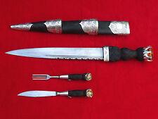 SUPERB ANTIQUE SCOTTISH DIRK DAGGER STERLING SILVER CAIRNGORM GEMSTONES knife