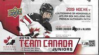 2019-20 Upper Deck Team Canada Juniors Hobby Box Sealed - 15 Packs per box