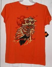 Womens Top Size XL 16/18, Orange Halloween Tee Gold Embellished Owl T-Shirt NEW