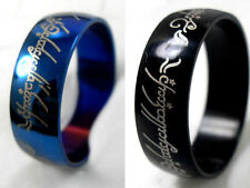 12pcs 8 mm wide black blue Lord of the Rings Stainless Steel Ring wholesale