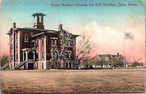 Hand Colored Postcard Kansas Wesleyan University & Girls Dormitory Salina~667