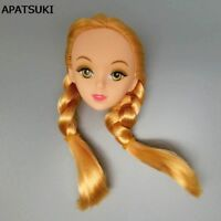 "DIY Doll Accessories Golden Hair 1/6 Doll Head 3D Eye Doll Heads For 11"" Doll"