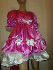 """ADULT BABY SISSY DEEP PINK SATIN DRESS 42"""" PRETTY FRILLY LACE  WHITE DOUBLE HEM"""