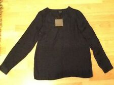 BNWT . Vila DARK BLUE NAVY Blouse Style VIMELLI  V NECK LONG SLEEVE TOP Size M