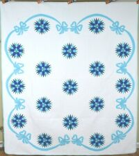 Large BEAUTIFUL Vintage Mariner's Compass Antique Quilt ~NICE RIBBON BORDER!